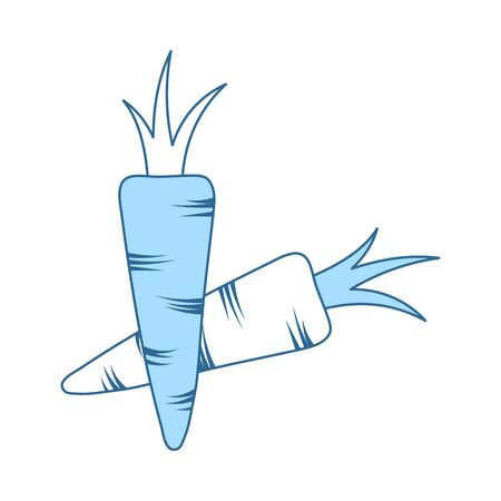 Carrot Icon. Thin Line With Blue Fill Design. Vector Illustration.