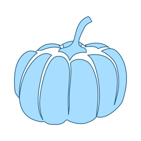 Pumpkin Icon. Thin Line With Blue Fill Design. Vector Illustration.