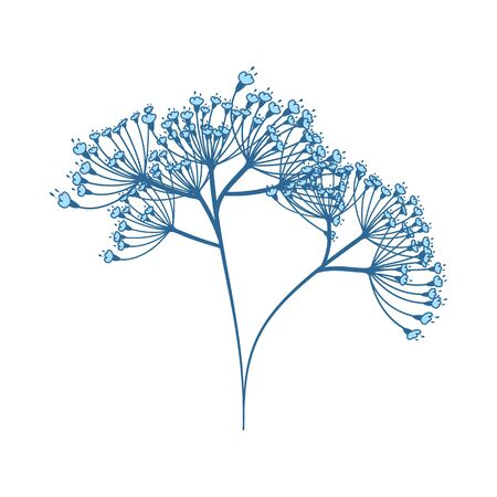 Dill Icon. Thin Line With Blue Fill Design. Vector Illustration.