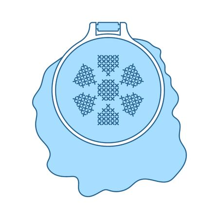 Sewing Hoop Icon. Thin Line With Blue Fill Design