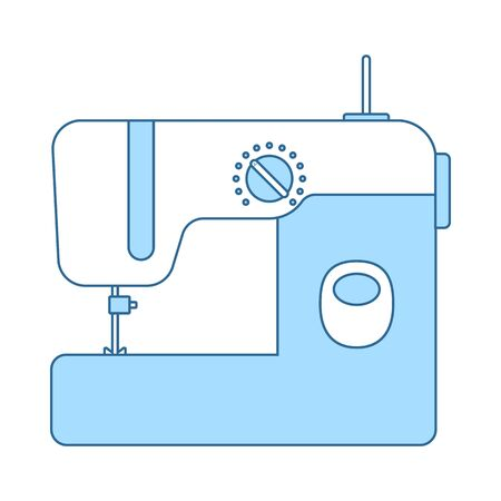 Modern Sewing Machine Icon. Thin Line With Blue Fill Design.