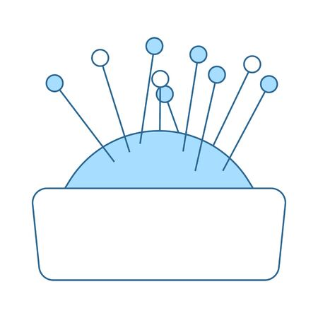 Pin Cushion Icon. Thin Line With Blue Fill Design.