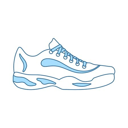 Tennis Sneaker Icon. Thin Line With Blue Fill Design.