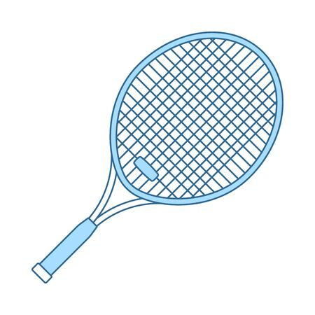 Tennis Racket Icon. Thin Line With Blue Fill Design. Иллюстрация