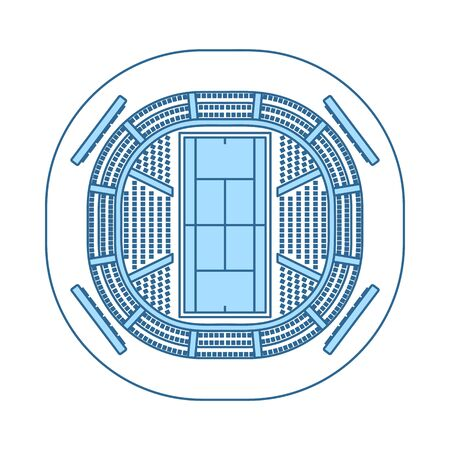 Tennis Stadium Aerial View Icon. Thin Line With Blue Fill Design.
