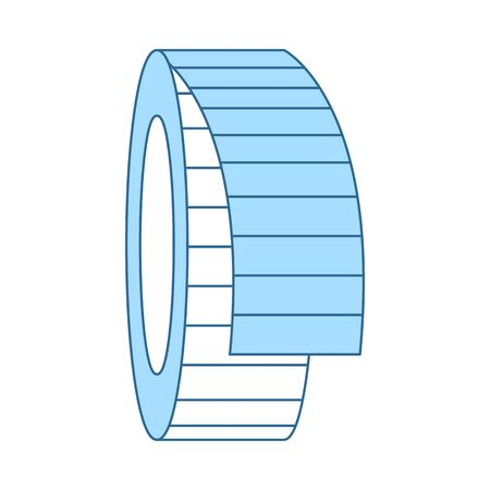Tailor Measure Tape Icon. Thin Line With Blue Fill Design.