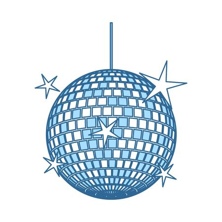 Night Clubs Disco Sphere Icon. Thin Line With Blue Fill Design. Vector Illustration.
