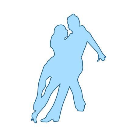 Dancing Pair Icon. Thin Line With Blue Fill Design. Vector Illustration.