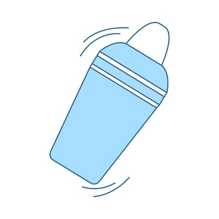 Bar Shaker Icon. Thin Line With Blue Fill Design. Vector Illustration.