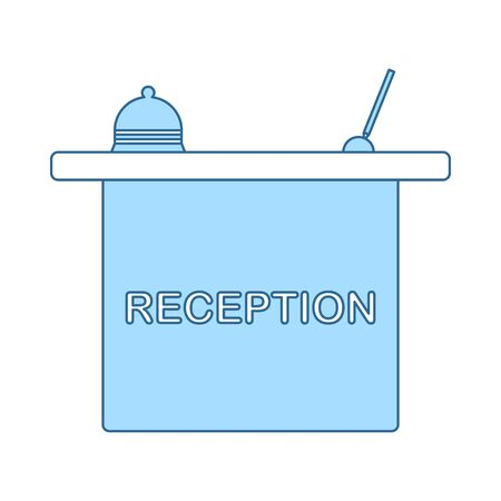 Hotel Reception Desk Icon. Thin Line With Blue Fill Design. Vector Illustration.