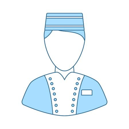 Hotel Boy Icon. Thin Line With Blue Fill Design. Vector Illustration. Иллюстрация