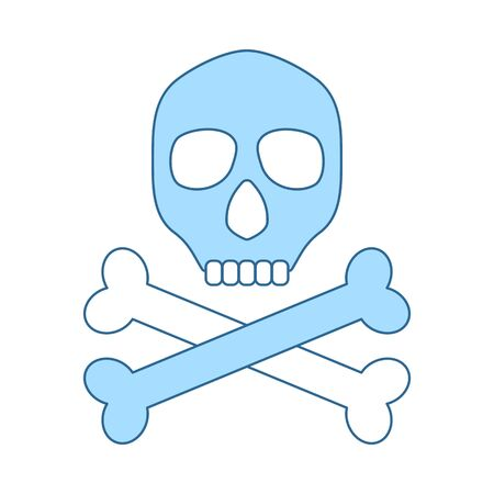 Poison Sign Icon. Thin Line With Blue Fill Design. Vector Illustration. Banque d'images - 129354303