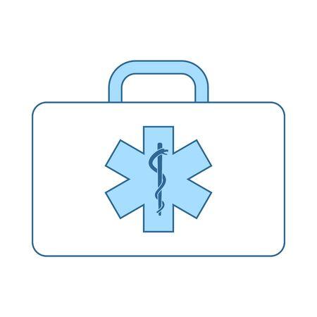 Medica Case Icon. Thin Line With Blue Fill Design. Vector Illustration. Ilustração
