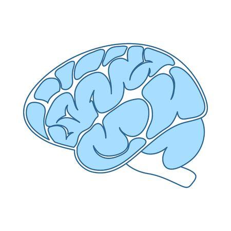 Brain Icon. Thin Line With Blue Fill Design. Vector Illustration.
