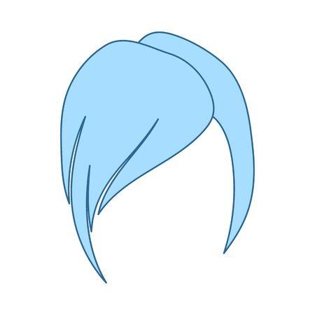 Ladys Hairstyle Icon. Thin Line With Blue Fill Design. Vector Illustration.