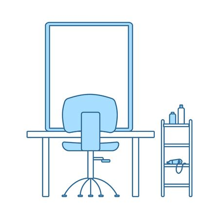 Barbershop Icon. Thin Line With Blue Fill Design. Vector Illustration.