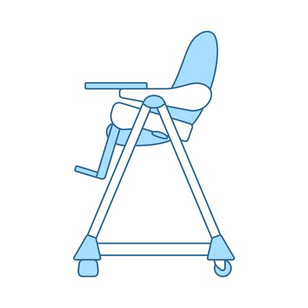 Baby High Chair Icon. Thin Line With Blue Fill Design. Vector Illustration.