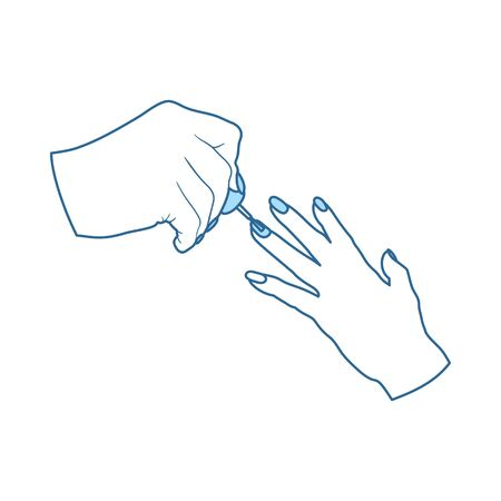 Manicure Icon. Thin Line With Blue Fill Design. Vector Illustration.