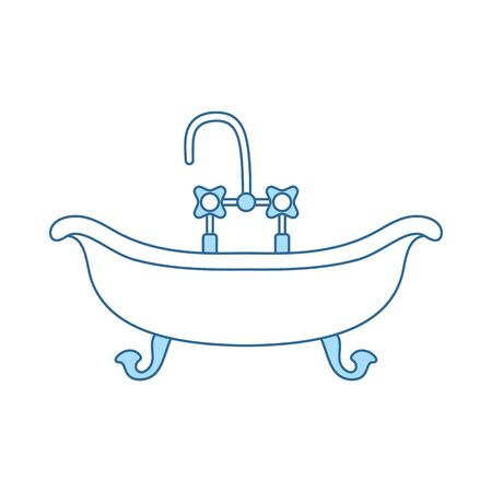 Bathtub Icon. Thin Line With Blue Fill Design. Vector Illustration.