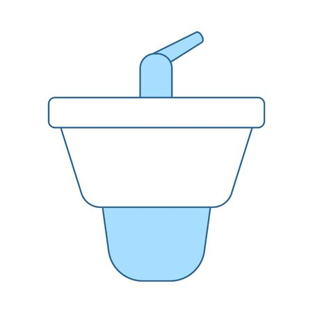 Bidet Icon. Thin Line With Blue Fill Design. Vector Illustration.