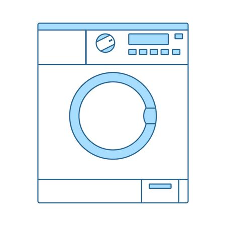 Washing Machine Icon. Thin Line With Blue Fill Design. Vector Illustration.