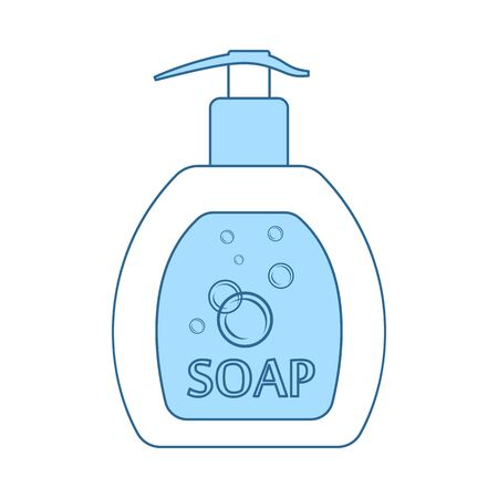 Liquid Soap Icon. Thin Line With Blue Fill Design. Vector Illustration. Archivio Fotografico - 129424195