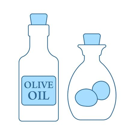 Bottle Of Olive Oil Icon. Thin Line With Blue Fill Design. Vector Illustration. Ilustração