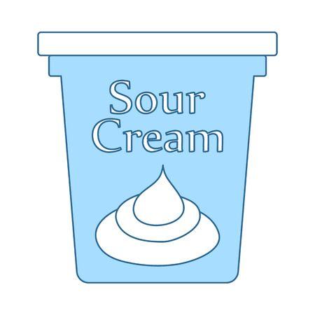 Sour Cream Icon. Thin Line With Blue Fill Design. Vector Illustration.