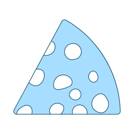 Cheese Icon. Thin Line With Blue Fill Design. Vector Illustration.