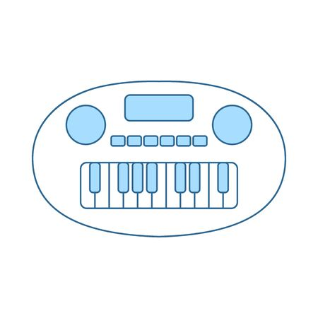 Synthesizer Toy Icon. Thin Line With Blue Fill Design. Vector Illustration.