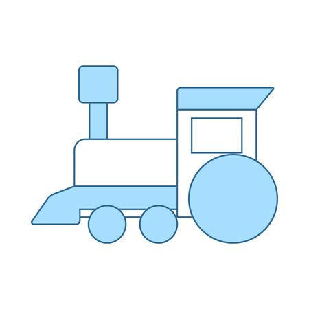 Train Toy Icon. Thin Line With Blue Fill Design. Vector Illustration.