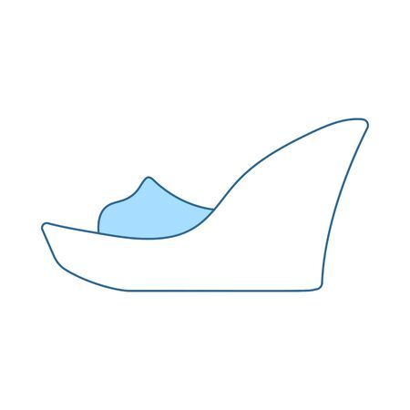 Platform Shoe Icon. Thin Line With Blue Fill Design. Vector Illustration.