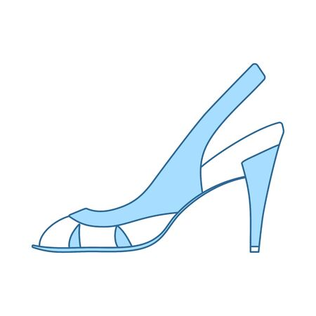 Woman Heeled Sandal Icon. Thin Line With Blue Fill Design. Vector Illustration. Illustration