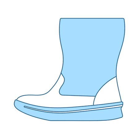 Woman Fluffy Boot Icon. Thin Line With Blue Fill Design. Vector Illustration.