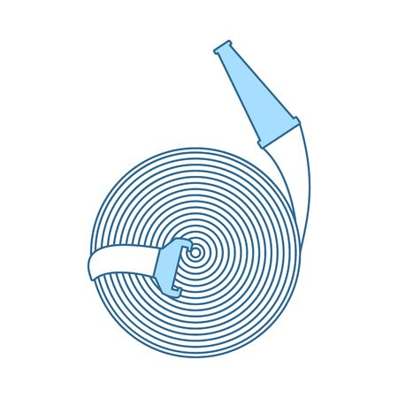 Fire Hose Icon. Thin Line With Blue Fill Design. Vector Illustration. Ilustrace