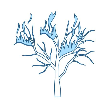 Wildfire Icon. Thin Line With Blue Fill Design. Vector Illustration.