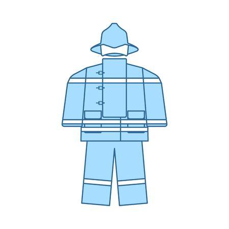 Fire Service Uniform Icon. Thin Line With Blue Fill Design. Vector Illustration. Ilustrace