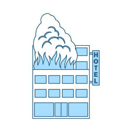 Hotel Building In Fire Icon. Thin Line With Blue Fill Design. Vector Illustration. Stock Illustratie