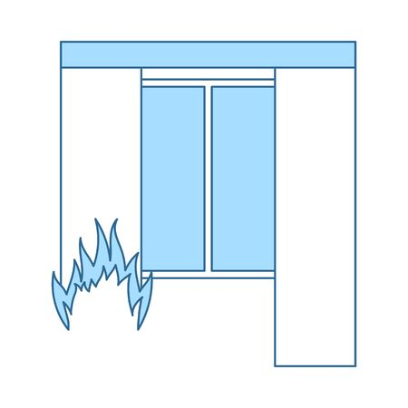 Home Fire Icon. Thin Line With Blue Fill Design. Vector Illustration. Stock Illustratie
