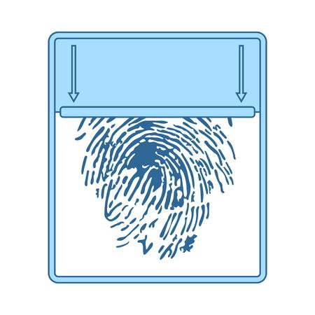 Fingerprint Scan Icon. Thin Line With Blue Fill Design. Vector Illustration. Ilustração