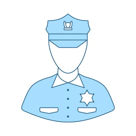 Policeman Icon. Thin Line With Blue Fill Design. Vector Illustration. Ilustração