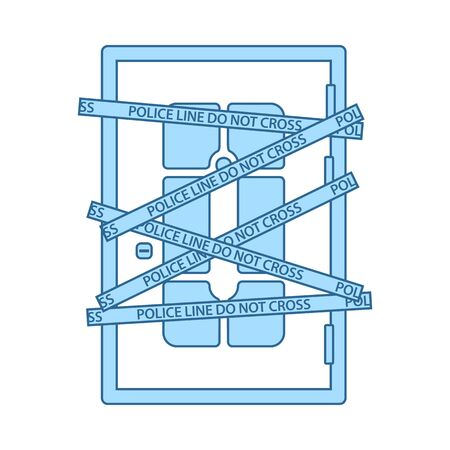Crime Scene Door Icon. Thin Line With Blue Fill Design. Vector Illustration. Ilustração