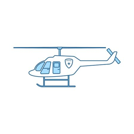Police Helicopter Icon. Thin Line With Blue Fill Design. Vector Illustration. Ilustração