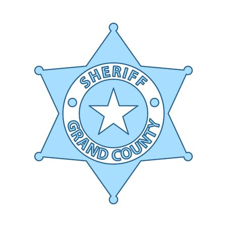 Sheriff Badge Icon. Thin Line With Blue Fill Design. Vector Illustration.