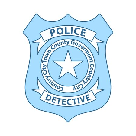 Police Badge Icon. Thin Line With Blue Fill Design. Vector Illustration. Ilustração