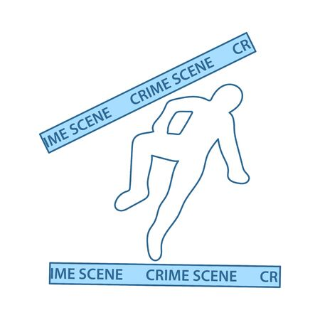 Crime Scene Icon. Thin Line With Blue Fill Design. Vector Illustration. Ilustração