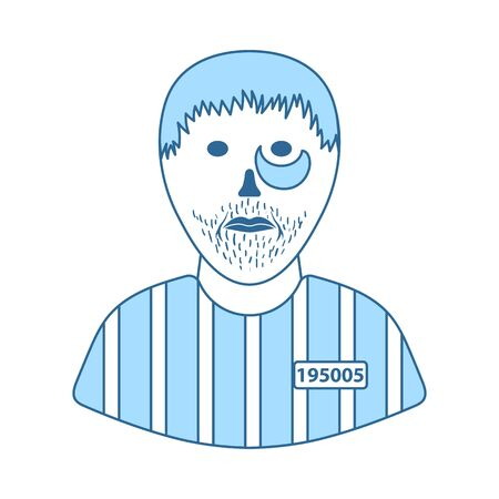 Prisoner Icon. Thin Line With Blue Fill Design. Vector Illustration.