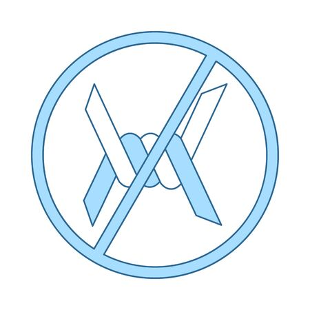 Barbed Wire Icon. Thin Line With Blue Fill Design. Vector Illustration.