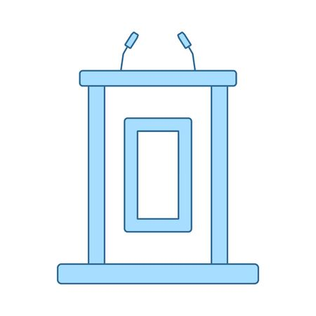 Witness Stand Icon. Thin Line With Blue Fill Design. Vector Illustration. Çizim