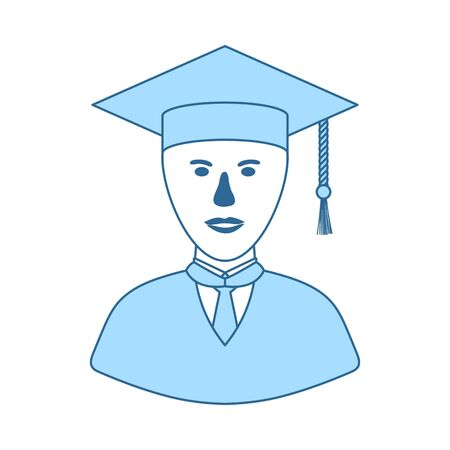 Lawyer Man Icon. Thin Line With Blue Fill Design. Vector Illustration.